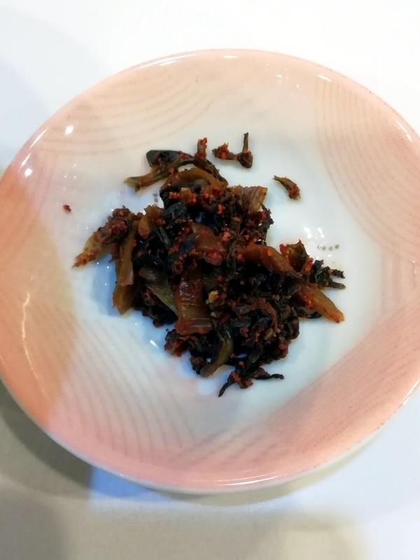 麺や◯雄さんの無料トッピングの辛子高菜