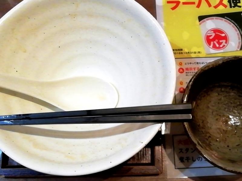 麺工房かなでさんの濃厚鶏白湯麺とミニチャーシュー丼を完食・完飲。