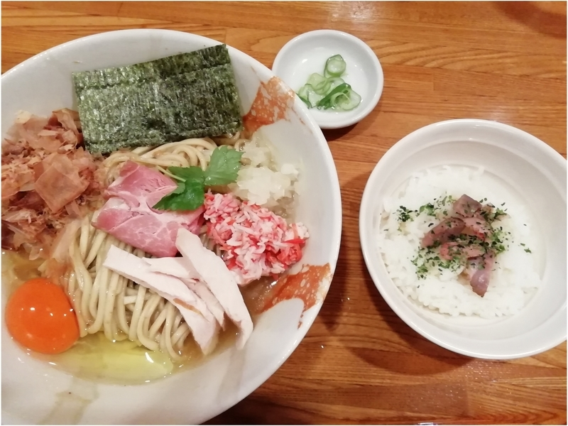 麺屋ひな多さんのズワイ蟹と鯵のまぜそば(追い飯付き・並)1000円