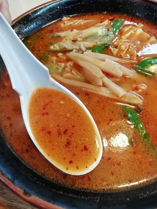 手ごね竹さんの竹辛タンメンのスープ