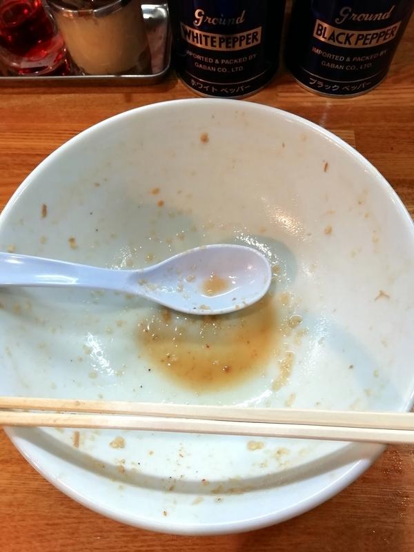 中華そば136さんの中華そば 味噌 大盛り 肉増しを完食・完飲。