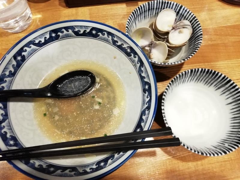 和風楽麺 四代目ひのでや 大宮店さんのはまぐりラーメンとミニ帆立ご飯を完食。