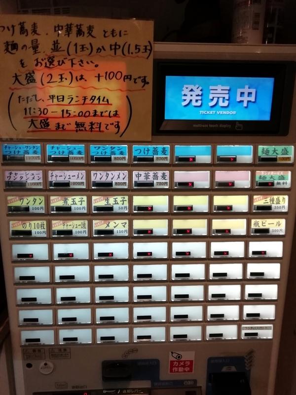 さいたま市浦和区の中華蕎麦 金魚さんの券売機