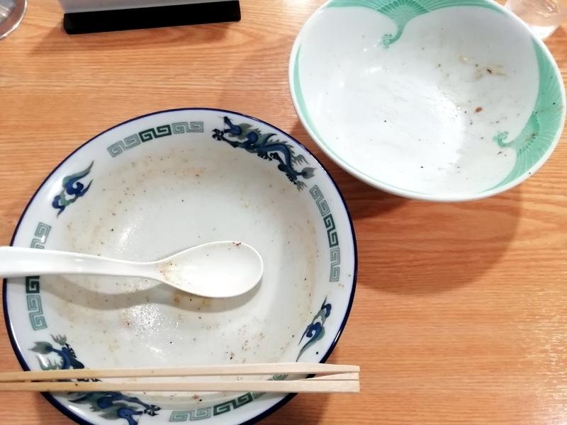 ツバメヤさんの肉入り中華そばと和え玉を完食・完飲。