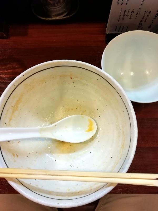 麺屋 旬さんのみそ味玉らーめんと小らいすを完食・完飲。