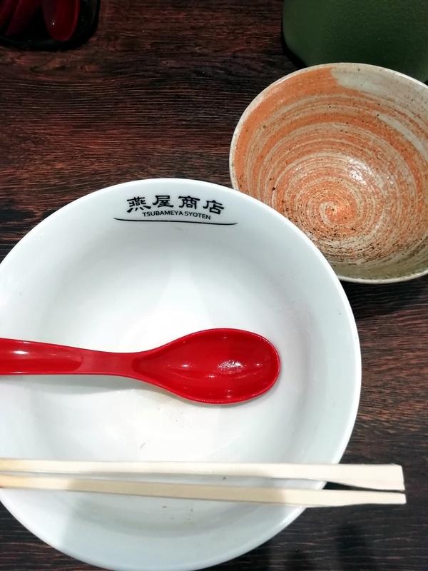 燕屋商店さんのシュウマイ入り蟹そばと梅とじゃこと昆布のご飯を完食・完飲
