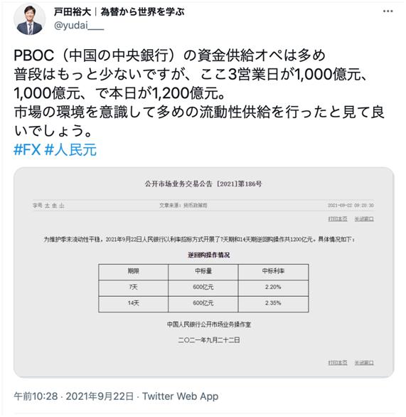 PBOCの資金供給オペ
