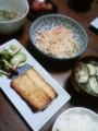 今夜は鰆西京漬けにもやしナムル茄子茗荷味噌汁ごはん納豆たらこ(´¬