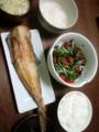今夜はホッケとヒジキサラダとごはんみそ汁(´¬`)シンプル和食さんで