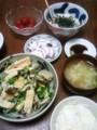 今夜はタコ刺身にとろろにアサリ豆苗炒めにごはん味噌汁(´¬`)