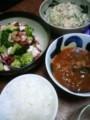 今夜はタコとブロッコリーのニンニク炒めと完熟ミネストローネと鮭缶