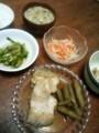 今夜は浅羽カレイとゴボウの煮付けとセリおひたしとモヤシ人参ナムル