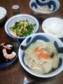 今夜は白菜と豚肉のニンニク味噌汁とニラ玉とワカメ海老酢の物と納豆