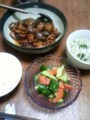 今夜は麻婆茄子とキュウリとトマトの中華サラダともやしワカメスープ