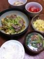 今夜は春キャベツと豚肉の韓国味噌炒めとジャガイモナムルとトマトマ