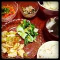 誤送信した!(;´Д`) 今夜は甘辛豆腐と青梗菜炒めとモヤシナムルと人参