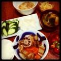 昨晩は鳥手羽と根菜の圧力煮とミニトマトオクラ和えとモヤシナムルと
