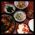 昨夜は豚肉茄子炒めと切り干し大根サラダとモヤシニラナムルとトマト
