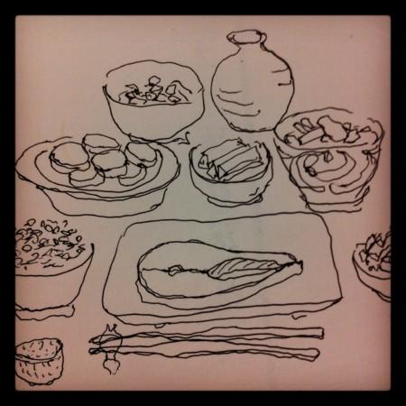 今夜はマナガツオ味噌漬けとコールスローとサツマイモ煮と納豆ぬか漬