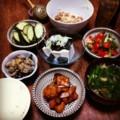 今夜は鳥唐揚げとピータン豆腐と蓮根きんぴらとエビインゲンサラダと