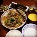 今夜はレタスモヤシひき肉中華炒めとタコゴーヤーニンニク和えと胡瓜