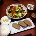 今夜は頂き物の黒はんぺんと回鍋肉とピータン豆腐と蕪スープとごはん
