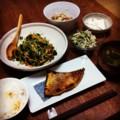 今夜はメヌキ西京焼きと豆苗ワカメ花椒炒めと切り干し大根サラダと山
