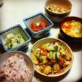 今夜は回鍋肉と切干し大根スプラウト和えとトマトレタススープとしま