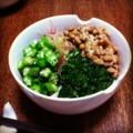 今夜はモロヘイヤオクラミョウガ納豆うどん(´¬`) 夏バテをサッパリ