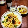 今夜は夏野菜ペンネと白菜ごま和えとトウモロコシゴボウスープ(´¬`)
