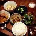今夜は煮豚大根とゴボウ唐揚げとヒジキサラダとぬか漬けみそ汁納豆ご