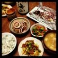 今夜は砂肝と蕪の食べラー和えと里芋と烏賊の甘辛煮とピーマンとニン