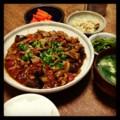 今夜は豚茄子トマトの豆 炒めと小松菜花椒和えと梅しらすキャベツと