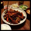 今夜は豚ナス甜麺醤炒めとオクラ茗荷和えとモヤシナムルと明太子とト
