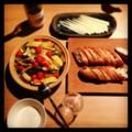 今夜は鶏野菜タジンとバゲットとチーズと白ワイン(´¬`) いただきま