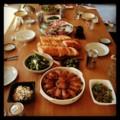 今日の昼ごはんは親戚と会食(´¬`) 諸々持ち込みで手羽中グリルだけ