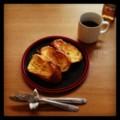 今朝はフレンチトーストと紅茶(´ー`) おはようございます。