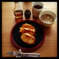 今朝はバゲット残りのフレンチトーストとジャガイモスープとアールグ