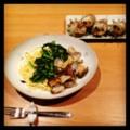 今夜は菜の花のボンゴレとサザエのつぼ焼き(´¬`) 菜の花の旬はおい