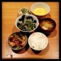 今夜は鶏ネギ焼きとヒジキ水菜サラダと白子ポン酢と納豆とみそ汁とご