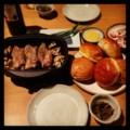 昨夜はダッチオーブンで豚肉グリルと茗荷茸と茹でイカの酢みそと煮茄