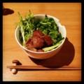 今夜は豚タンと空芯菜の芽と香草とキュウリの汁ビーフン(´¬`) 軽め