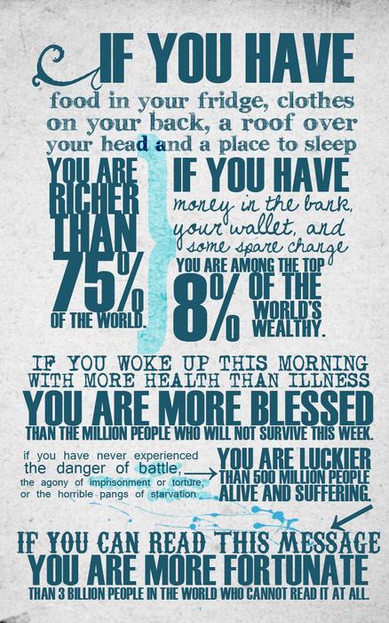 もし、冷蔵庫の中に食べ物があり、屋根の下で寝ることができるなら、あなたは世界の75%の人より豊かである…