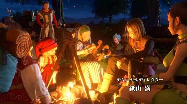 ドラゴンクエスト11PS4オープニング仲間たちのキャンプ風景