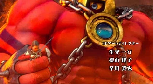 ドラゴンクエスト11PS4オープニング謎のダンサーが赤い筋肉巨人に掴まれる