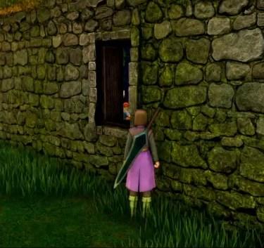 ドラゴンクエスト11PS4ゲームプレイ画面イシの村の村長の家の窓から見えるエマの裁縫する姿