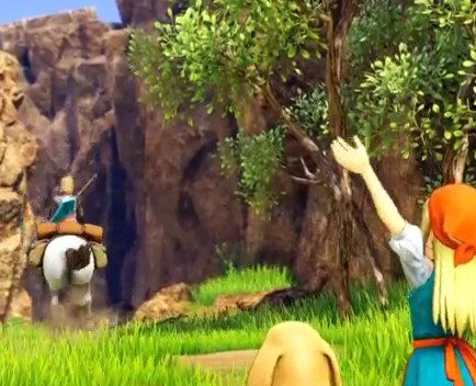 ドラゴンクエスト11PS4ゲームプレイ画面イシの村より旅立つ勇者と見送り手をふるエマ