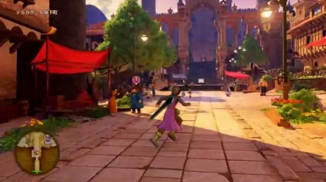 ドラゴンクエスト11PS4ゲームプレイ画面デルカダール王国城下町到着