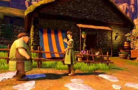 ドラゴンクエスト11PS4ゲームプレイ画面10年前のイシの村は襲撃されていなかった