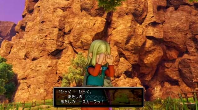 ドラゴンクエスト11PS4ゲームプレイ画面10年前のイシの村で6歳エマがないている